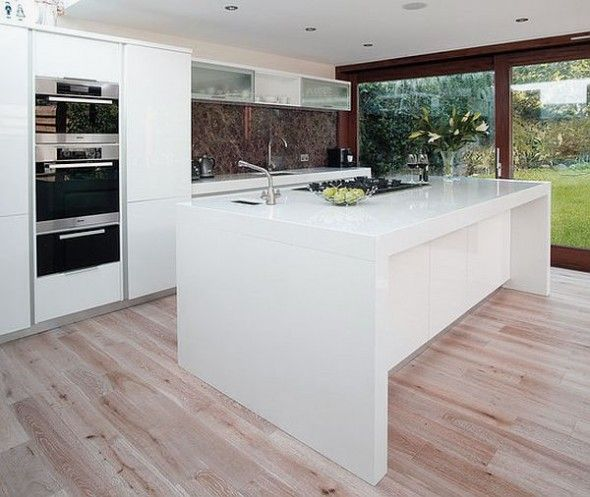 Types and Personalities from Kitchen Island Design: Ultra Modern White Kitchen Island Design Ideas with Glossy Counter Top