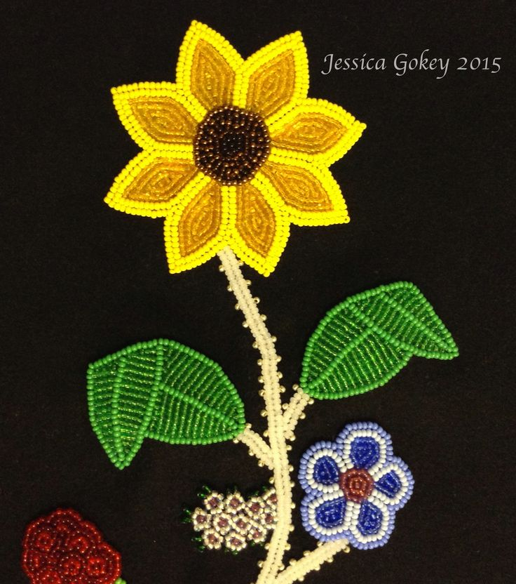 Close up on panel for MNHS Project: Designed and beaded by Jessica Gokey Sunflower
