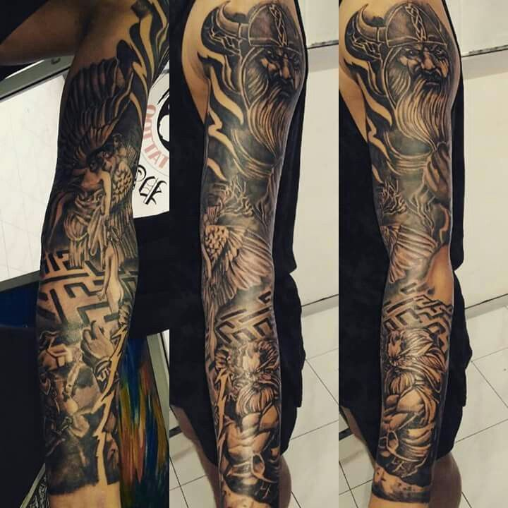 Viking#namaste#labirynth#forsleeve#tattooworld#manwithtattoo#officialblessinkart#tattoo#greekgod