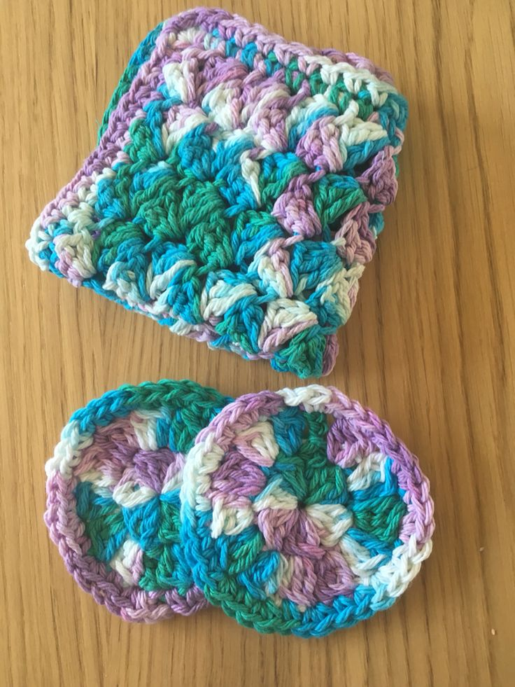 Face cloth and some scrubbies done in Lily's sugar and cream yarn