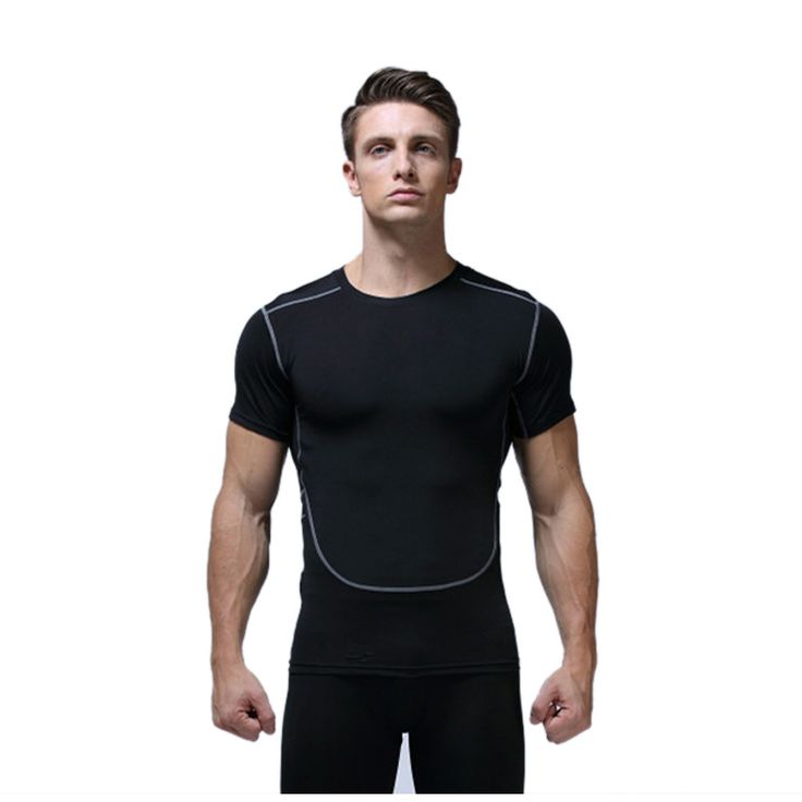 Fitness Short Sleeve Gym Sports T Shirt Men Quick Dry Compression Fitness Bodybuilding Running Tights T-shirts Breathable S-XXL