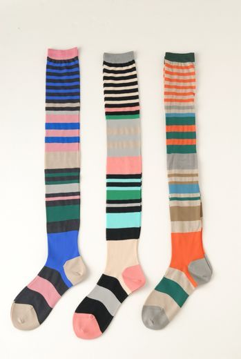 MULTI STRIPE OVER KNEE SOCKS by Eley Kishimoto... I would hang these up around my room they're so cute!