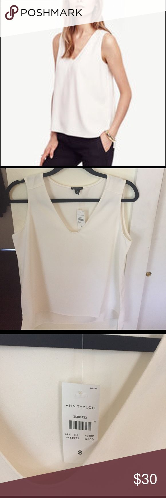 White/cCeam Ann Taylor V-Neck Shell Top (S) Beautiful new small white/cream Ann Taylor v-neck shell top. Loved it but slightly too big on me. Never worn, new with tags! Ann Taylor Tops