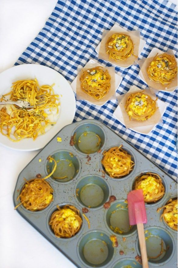 Spaghetti and Cheese Nests on MarlaMeridith.com