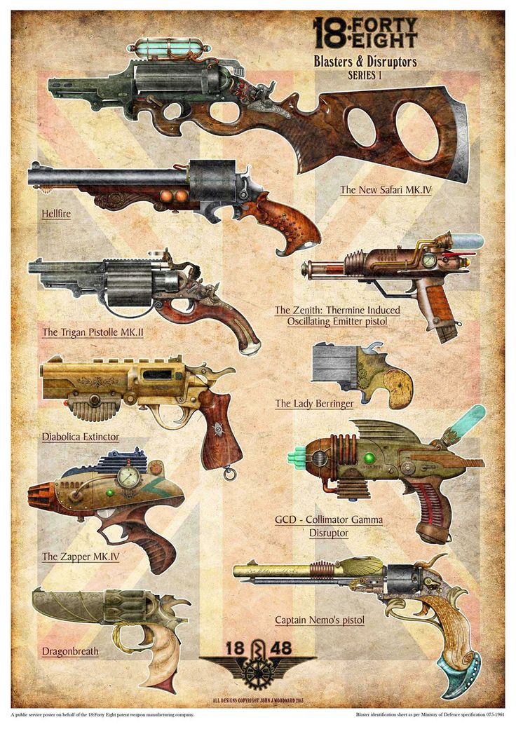 "steam-fantasy: "" Take a look at these very cool steampunk ray-guns! Illustration by Pelecymus, http://pelecymus.deviantart.com/art/New-collection-poster-397929850 """