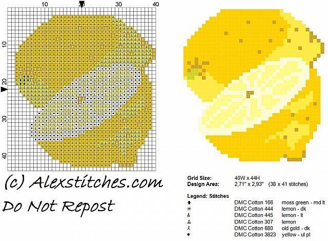 Lemon fruit free cross stitch pattern