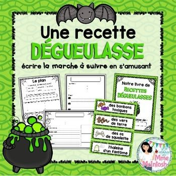 "**Bundle up and save 25% when you pair this with my French Procedural Writing Unit!** Click here for more information:French Procedural Writing Bundle Students love this ""disgusting"" recipe activity! They get to practice their procedural writing skills in a fun and creative way!Here's what you get:- 4 graphic organizers in different styles, perfect for guided writing/scaffolding- Procedural Writing example for ""La soupe aux doigts de sorcire""- Le plan - Mind map for planning out their…"