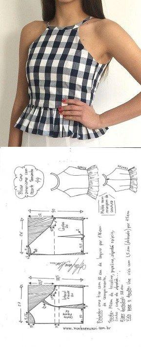Blusa caca americana com recorte   DIY – molde, corte e costura – Marlene Mukai