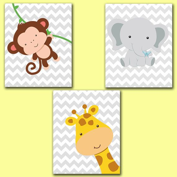 Printable Wall art Jungle Animals Set Giraffe Monkey Elephant Chevron Gray Nursery Room Decor 8x10 JPEG Files 52-54