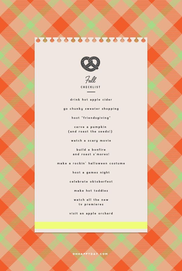 Fall Checklist | Oh Happy Day! | Bloglovin