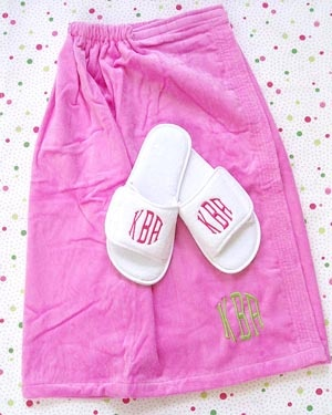 Monogrammed Spa and Towel Wraps and Monogrammed Slippers