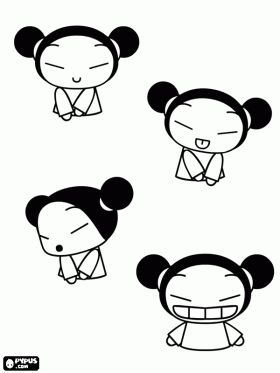 Pucca, a Japanese girl coloring page