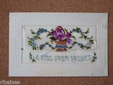 R&L Postcard: WW1 Silk Card, 'A kiss From France' Basket of Flowers + Insert