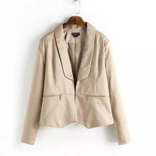 Xz175 mujer color caqui manga larga con cremallera bolsillo office lady blazer feminino traje de chaqueta de mujer de marca informal(China (Mainland))
