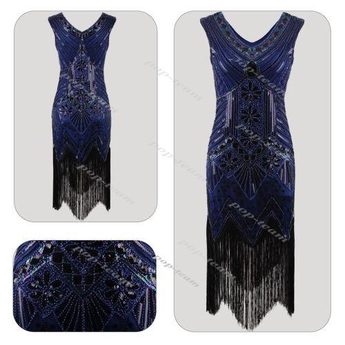 Gatsby-Downton-Charleston-Sequin-Vintage-1920s-Fancy-Beads-Flapper-Dress-Costume