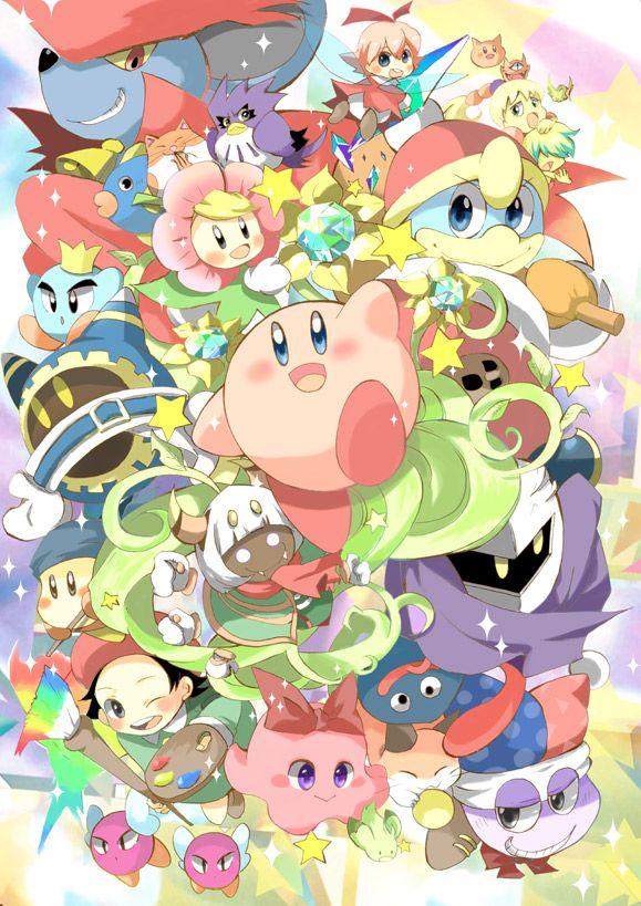 adeleine bird bronto_burt bun_(kirby) character_request chuchu_(kirby) coo_(kirby) crown dorocche everyone fairy flower fumu_(kirby) gooey hamster horns kabuto_(kirby) kine_(kirby) king_dedede kirby kirby_(series) mahoroa marx meta_knight mouse nago_(kirby) owl pitch_(kirby) popupopo prince_fluff ribbon_(kirby) rick_(kirby) sparkle star taranza waddle_dee