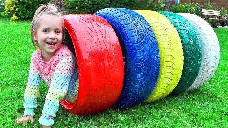 الفيديو التعليمية للأطفال مع لون الإطارات | مضحك طفل يلعب | فيديو للأطفال الصغار - YouTube