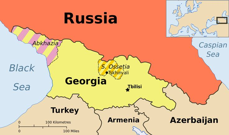 Map of Abkhazia and South Ossetia