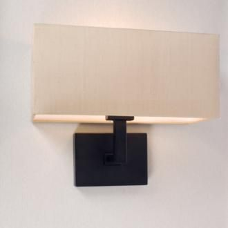 This straight sided #rectangular #lampshade reflects the Langham Wall Lights geometric shape perfectly - a good example of how a lamp shade can really enhance your lighting design( made by Jim Lawrence)