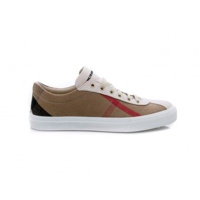 #BURBERRY - Sneakers bassa in canvas check e pelle bianco - Elsa-boutique.it <3