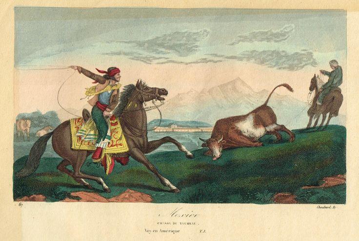 Mexico - Chasse du taureau - Voyage en Amérique - Tome I - Histoire pittoresque des voyages par L.-E. Hatin - 1844 - MAS Estampes Anciennes - Antique Prints