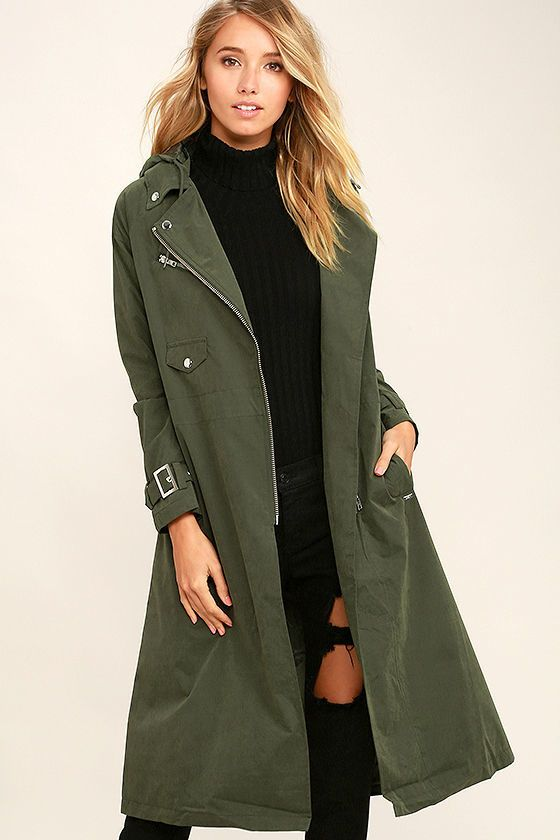 Obey Easy Rider Olive Green Trench Coat on Shopstyle.