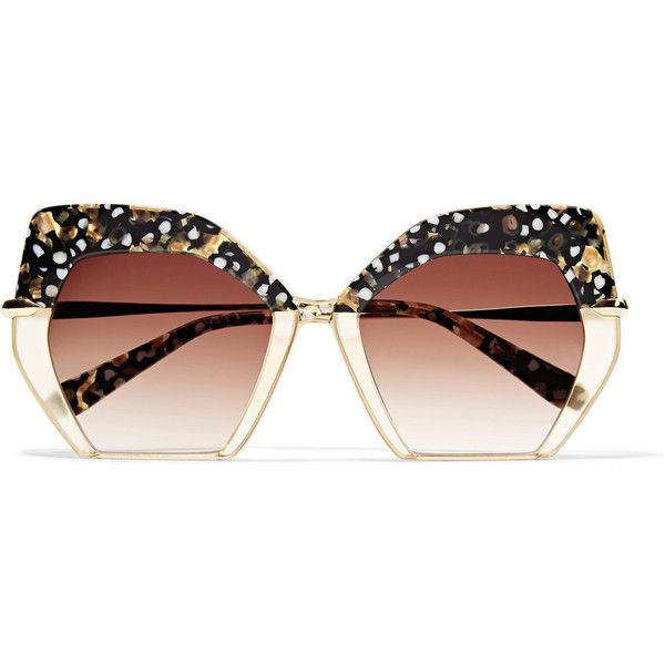 KREWE Octavia square-frame acetate and gold-plated sunglasses (398 AUD) ❤ liked on Polyvore featuring accessories, eyewear, sunglasses, brown, dot sunglasses, polka dot sunglasses, colorful sunglasses, brown glasses and polka dot glasses