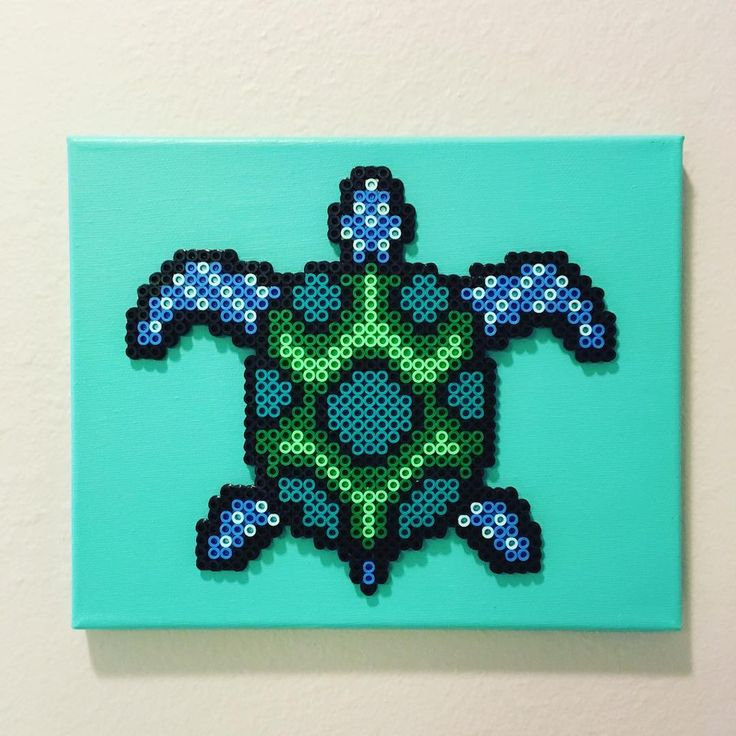 Turtle perler beads by let.there.be.pixels                              …