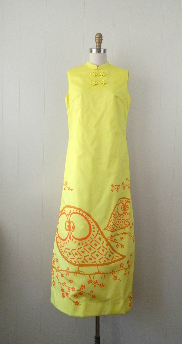 70s The Vested Gentress Novelty Print Owl Cheongsam Maxi Dress .... Size Small to Medium. $130.00, via Etsy.