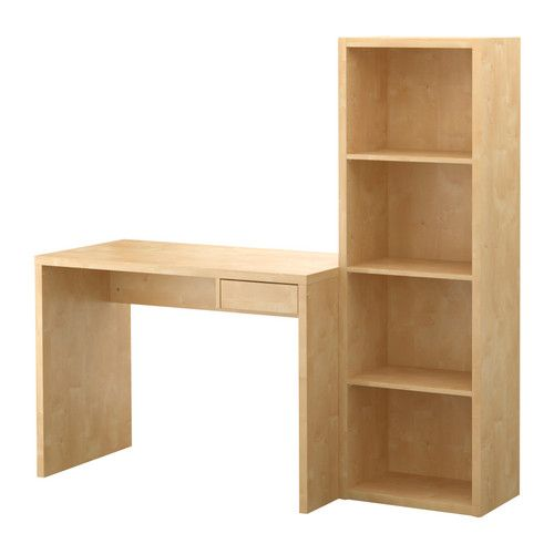 """desk: 41"""", bookcase 19"""" total: $74.99. downsides: only in this birch veneer; not available online. upside: little drawer for storage and bookcase for larger items. thought: just buy small, white desk with storage (ex. vika amon corner desk $65) and put expedit next to it?"""