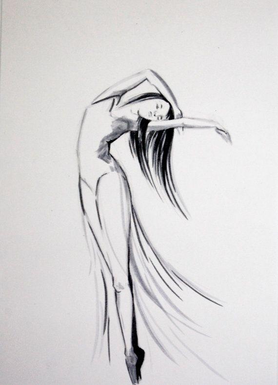 Original Ink Drawing of Dancing Woman Ballerina by CanotStop, $40.00