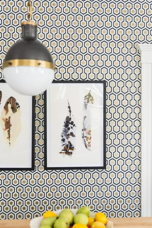 Black And Gold Dining Nook Boasts A Wall Clad In David Hicks Hexagon Wallpaper Lined