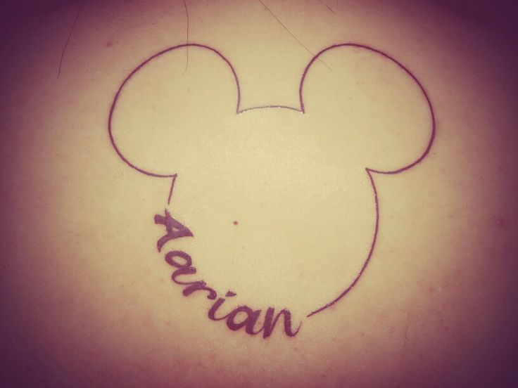 Mickey Mouse Tattoo Customized with Son's Name.