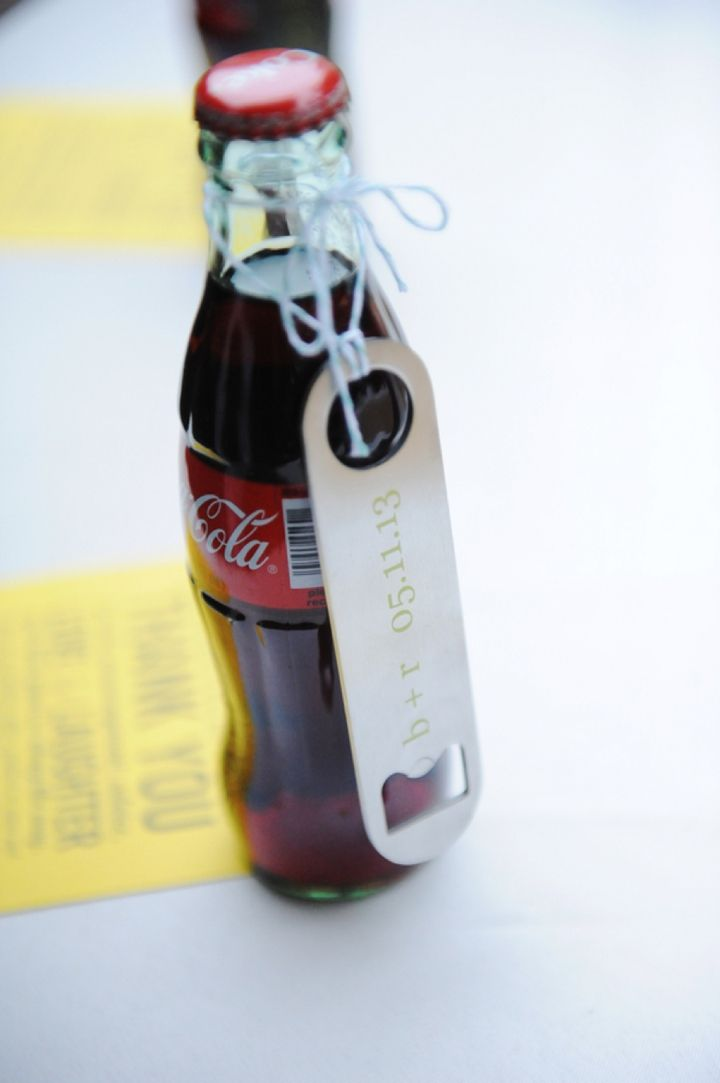 Classic Coca Cola bottles with customized bottle openers as a favor- love it! // Photographer: j.woodbery photography // see more: http://theeverylastdetail.com/2013/09/11/fun-and-bright-yellow-and-gray-wedding/