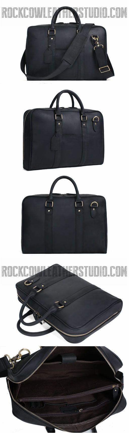 Black Genuine Leather Briefcase, Messenger Bag, Laptop Bag, Men's Handbag D007