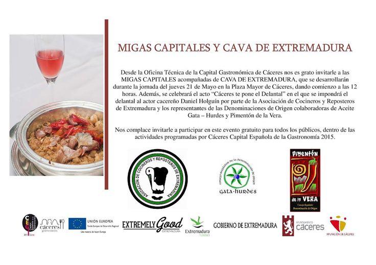 Mañana disfruta de unas migas capitales de Manuel Espada y una copa de cava extremeño en la Plaza Mayor ¡El sabor de la tradición! #CáceresGastronómica