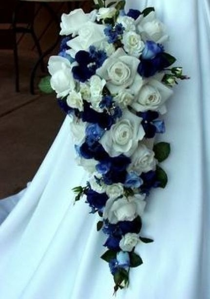 Cascading White and Blue Roses Bridal Bouquet.