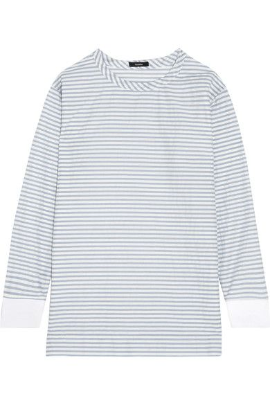 Bassike - Striped Cotton-blend Top - Sky blue