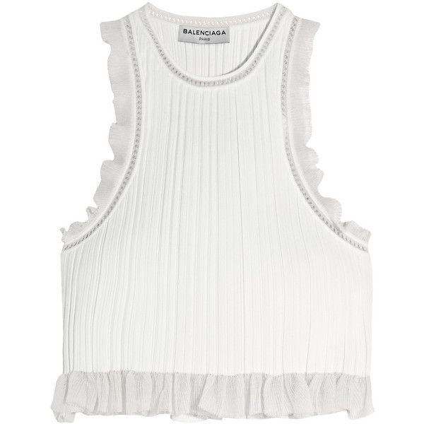Balenciaga Cropped mesh-trimmed plissé-jersey top (€795) ❤ liked on Polyvore featuring tops, crop tops, balenciaga, white, jersey top, flutter crop top, ruffle top, flounce tops and jersey crop top