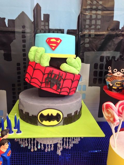 Wow. What a great superhero birthday cake! See more party ideas at CatchMyParty.com. #superhero #birthdaycake
