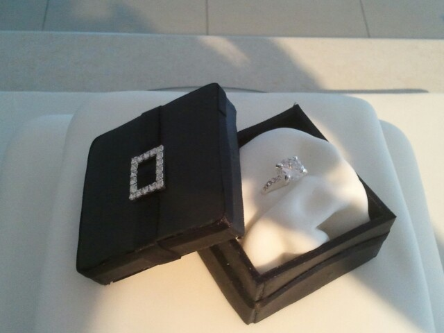 Ring box on engagement cake made with gum paste and for How to build a ring box