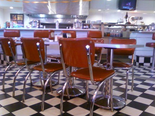 Cool 50's decor. LOVE the checkerboard flooring! | Yelp