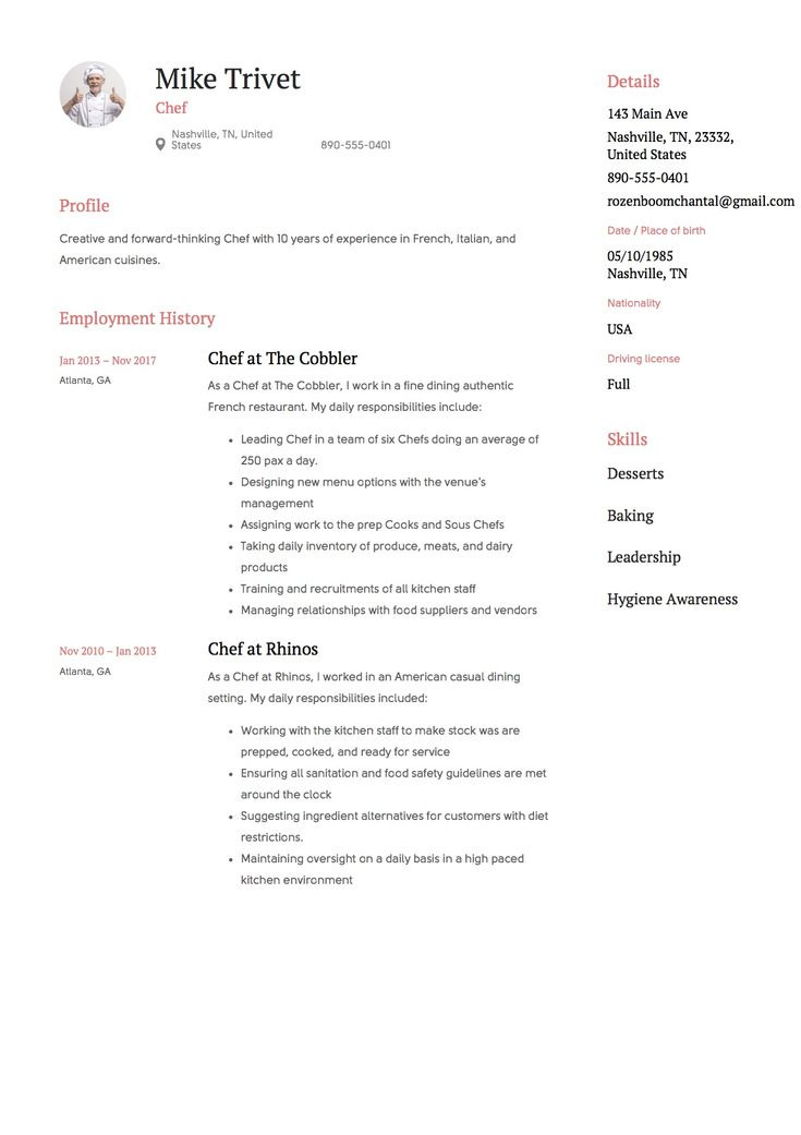 Chef resume template design tips examples free
