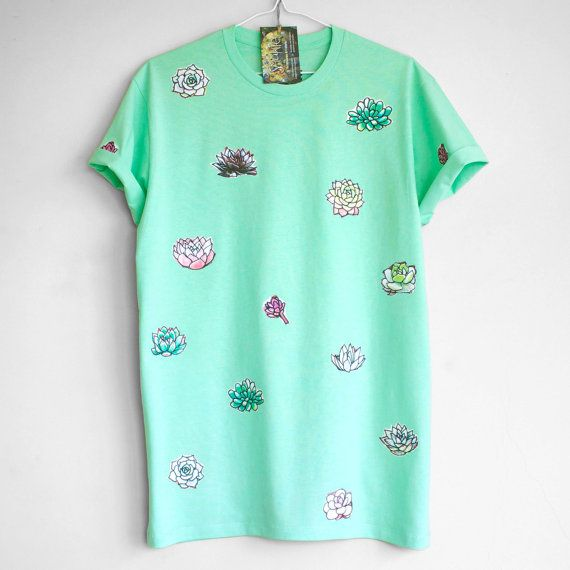 SUCCULENT T SHIRT. 100% cotton T shirt with succulents. Mint. Teal. Green. Unique T shirts.