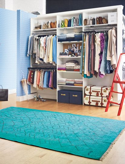 Beautifully organized clothes closets turquoise rug for How do you organize your closet