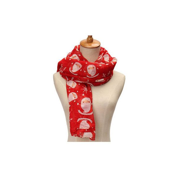 Winter Voile Christmas Robin Snow Flake Scarf Shawl Stole Wraps ($5.49) ❤ liked on Polyvore featuring accessories, scarves, red, red scarves, red shawl, christmas scarves, wrap shawl and shawl scarves
