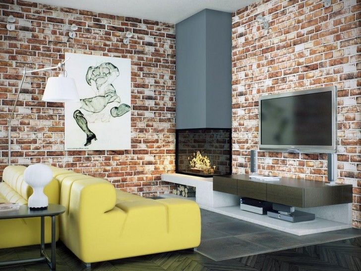 Living RoomIncorporating Room Brick Wall Decorations Ideas Attractive Exposed Red Stone Decor In As Well Tv Wa