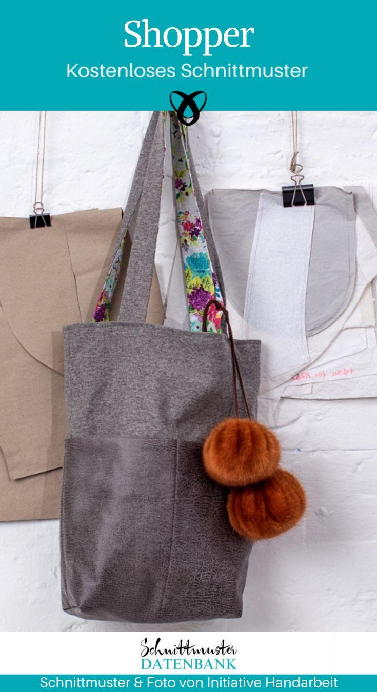 2c3c943f4c4 Shopper nähen kostenloses Schnittmuster gratis Freebie Download Tasche  Handtasche Nähidee Geschenkidee