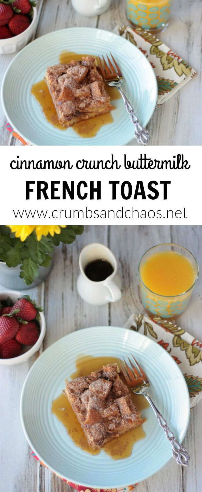 Easy and delicious, Cinnamon Crunch Buttermilk French Toast is always a winner! Make this the night before and enjoy a hot breakfast without any fuss in the morning! via @crumbsandchaos