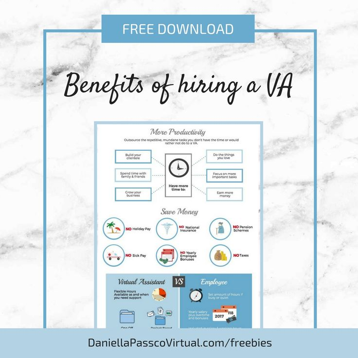 FREE downloadable infographic - benefits of hiring a virtual assistant - Blog post. Virtual assistant infographic. Blue infographic. virtual assistant vs employee infographic